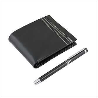 Набор из двух предметов: ручка и кошелек, цвет чёрный