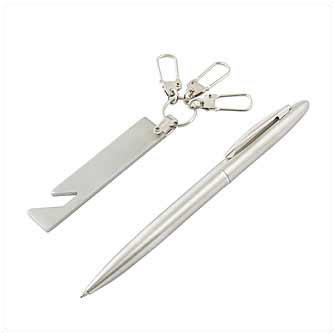 Набор: ручка металлическая и брелок-открывашка