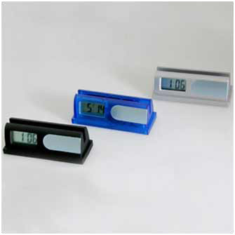 Часы-подставка для визиток серебристая