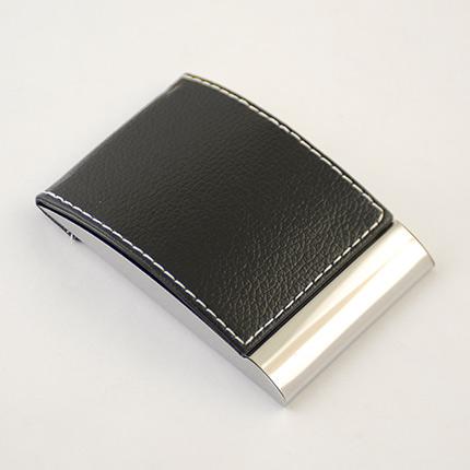 Визитница карманная из искуственной кожи и металла, чёрная