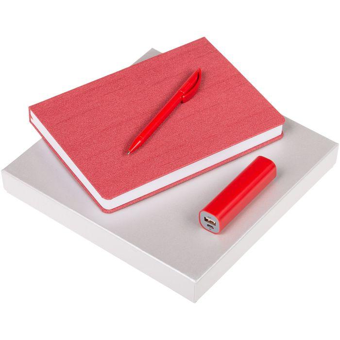 Набор Soul: ежедневник, внешний аккумулятор и ручка, цвет красный