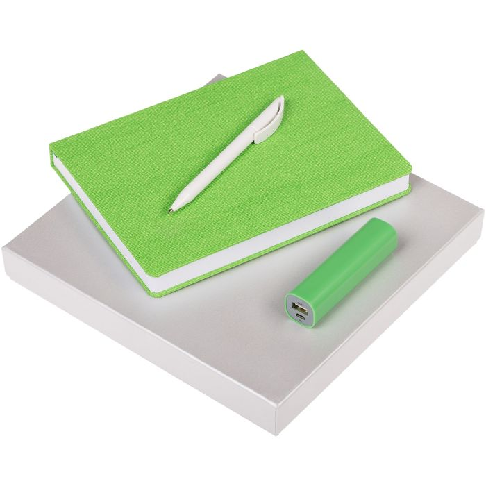 Набор Soul: ежедневник, внешний аккумулятор и ручка, цвет зелёный