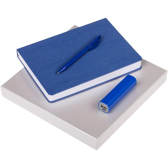 Набор Soul: ежедневник, внешний аккумулятор и ручка, цвет синий