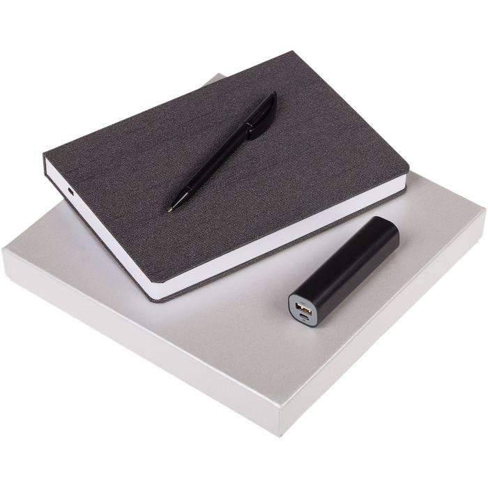 Набор Soul: ежедневник, внешний аккумулятор и ручка, цвет чёрный
