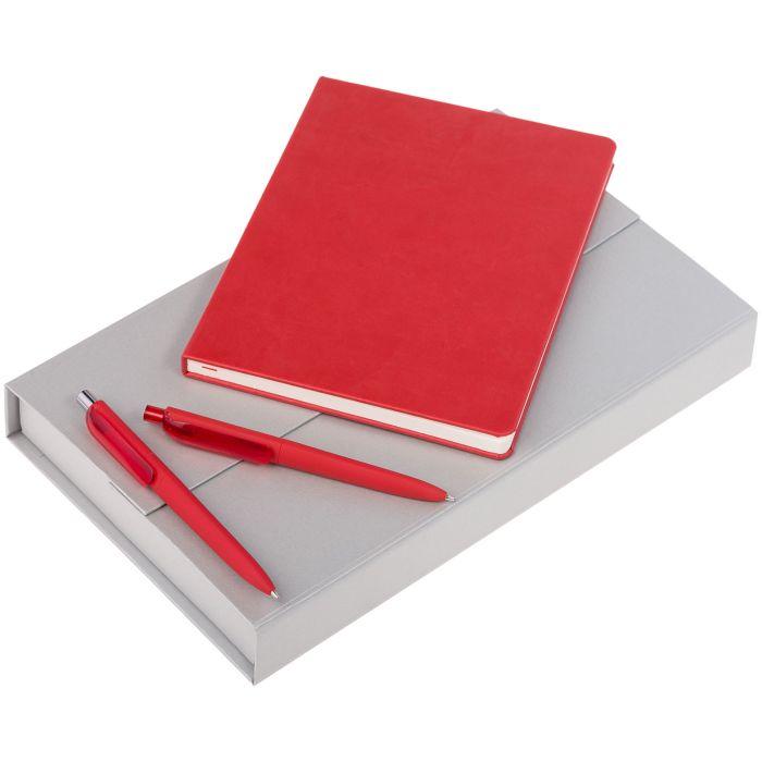 Набор Trio: блокнот, карандаш и ручка, цвет красный