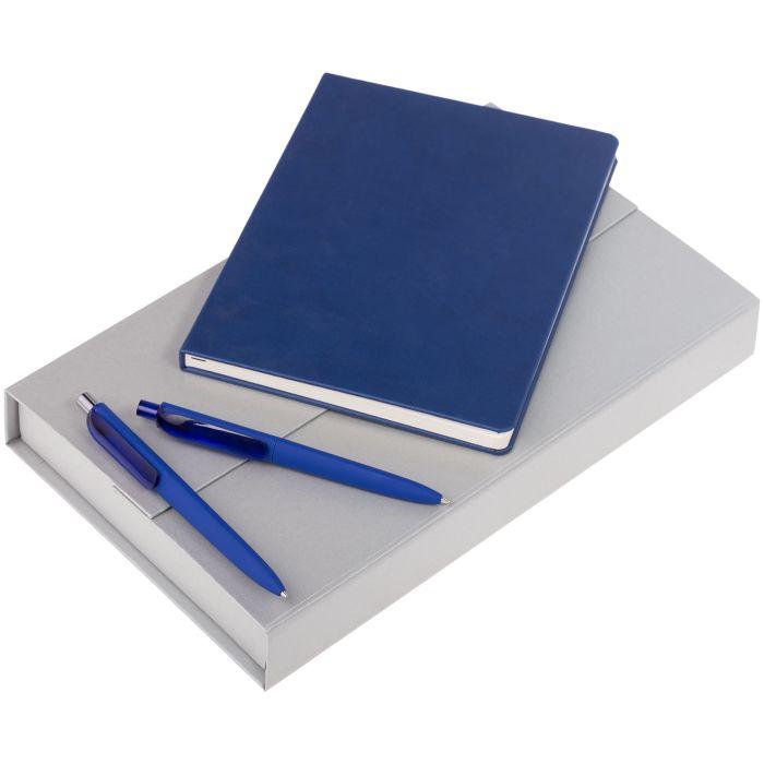 Набор Trio: блокнот, карандаш и ручка, цвет синий