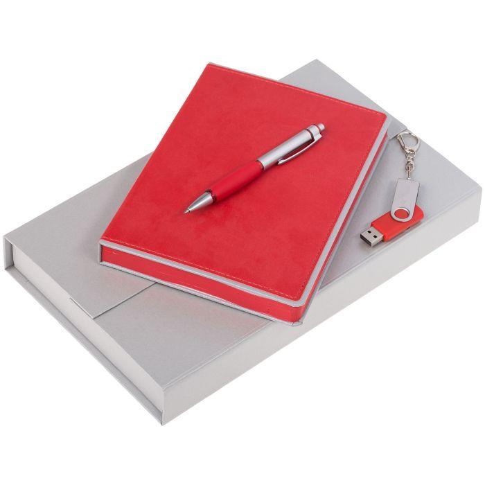 Набор Freenote: ежедневник, флешка и ручка, цвет красный