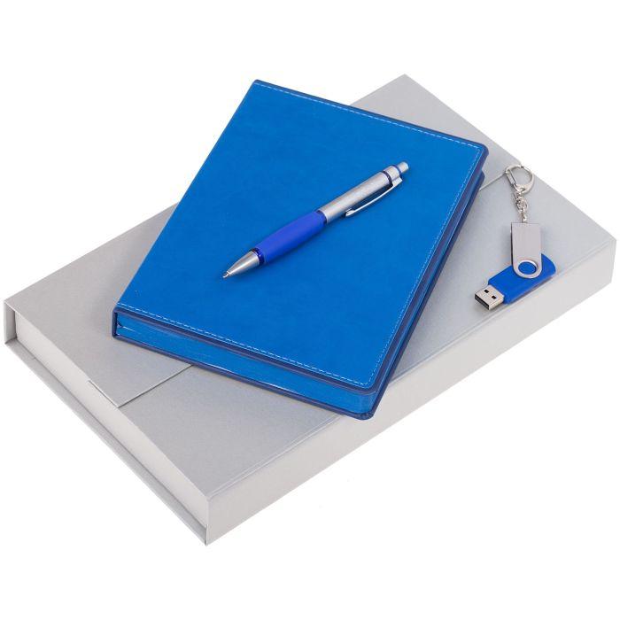 Набор Freenote: ежедневник, флешка и ручка, цвет синий