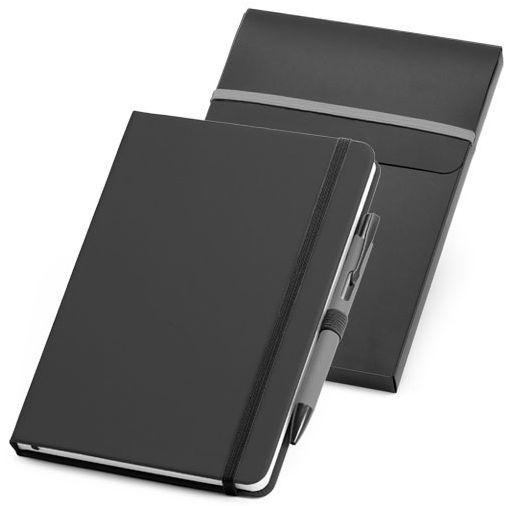 Набор: блокнот Advance A5 с ручкой, чёрный с серым