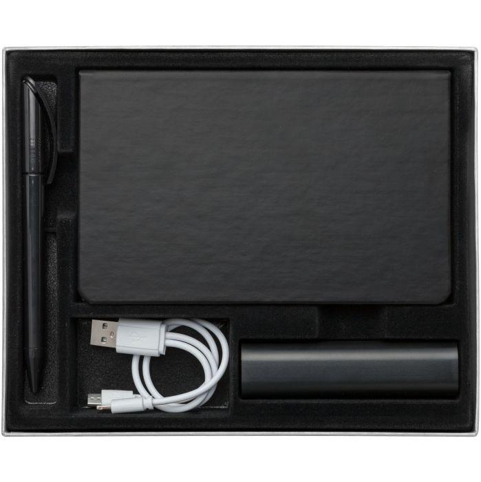 Набор Plus: аккумулятор 3000 mAh, ежедневник и ручка, цвет чёрный
