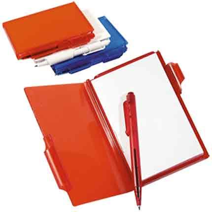 Блокнот для записей с авторучкой, красный