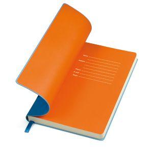 """Бизнес-блокнот, бренд """"thINKme"""", коллекция """"Funky"""", формат А5, в линейку, мягкая обложка и ляссе голубые, форзац оранжеый"""