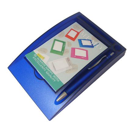 Блокнот с ручкой на горизонтальной подставке, цвет синий