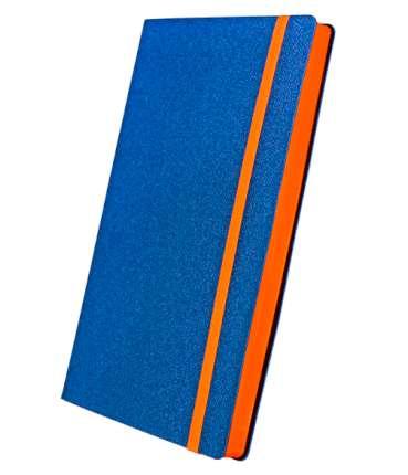 Премиум-блокнот, формат A5 (11.08235 -F355), Юта, цвет синий, срез оранжевый, резинка оранжевая