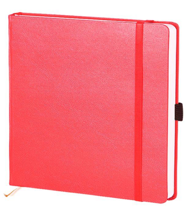 """Скетчбук с резинкой под ручку (бренд InFolio) коллекция """"Euro business"""", размер 15х15 см, переплёт твердый, цвет красный"""