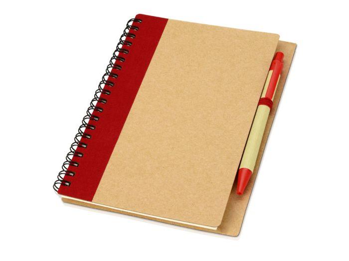 """Блокнот """"Priestly"""" с ручкой, формат А6, цвет натуральный с красным"""