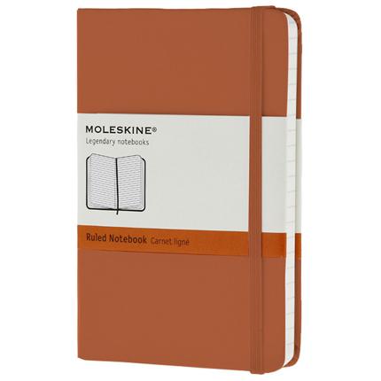 Записная книжка Classic, Pocket, формат A6 (блок в линейку), цвет оранжевый коралл