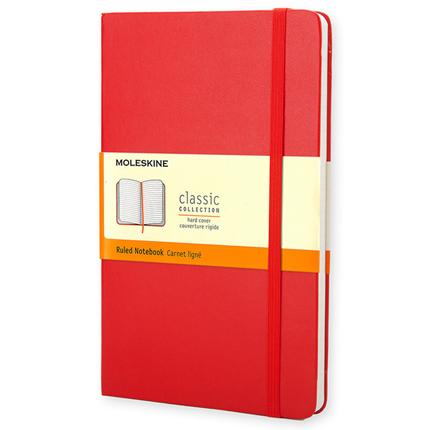 Записная книжка Classic, Pocket, формат A6 (блок в линейку), цвет красный