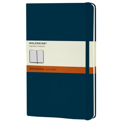 Записная книжка Classic, формат A5 (блок в линейку), цвет голубой сапфир