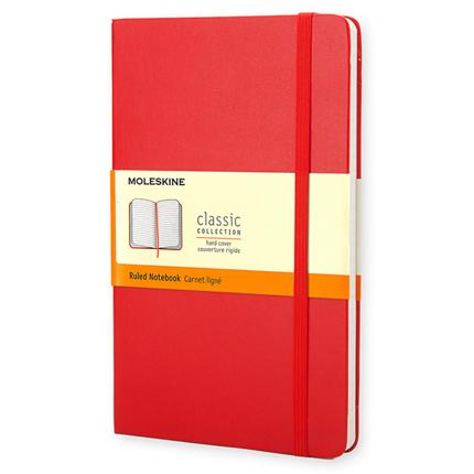 Записная книжка Classic, Large, формат A5 (блок в линейку), цвет красный