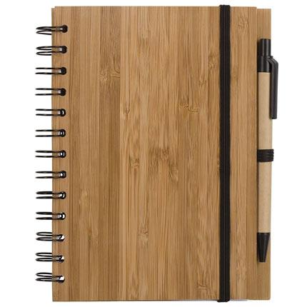Блокнот на кольцах Bambook с обложкой, покрытой пластинами натурального бамбука, и с шариковой ручкой из картона