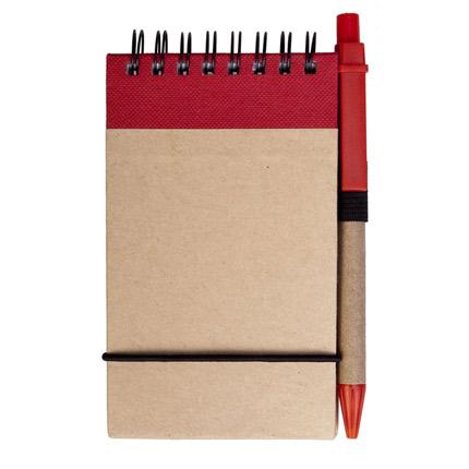Блокнот на кольцах Eco Note с ручкой, выполненны из натурального картона, цвет красный