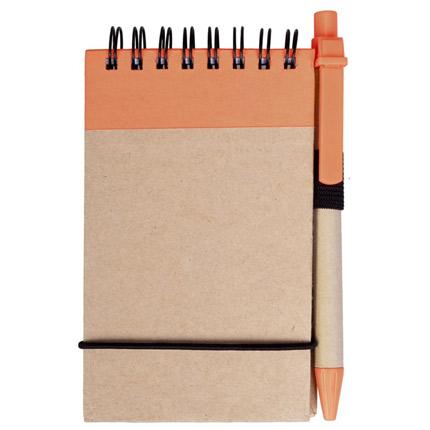 Блокнот на кольцах Eco Note с ручкой, выполненны из натурального картона, цвет оранжевый