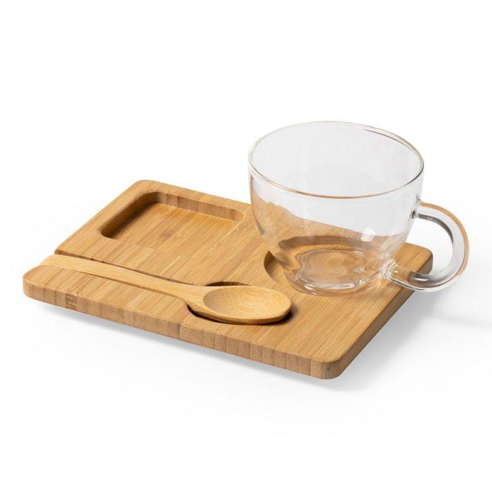 Набор MORKEL:чашка, ложка, подставка, бамбук, боросиликатное стекло