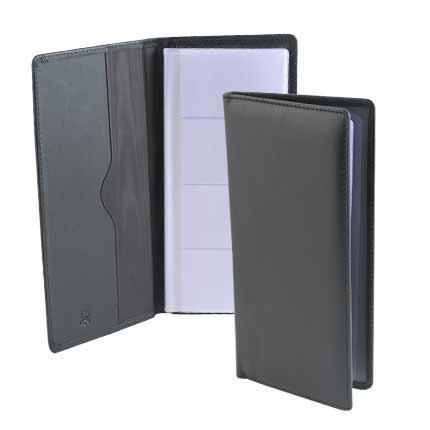 Визитница настольная на 56 карточек из натуральной кожи, чёрная