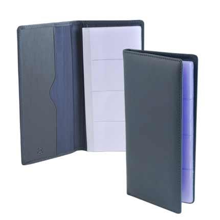 Визитница настольная на 56 карточек, из натуральной кожи, темно-синяя