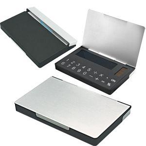Калькулятор с визитницей, цвет серебристый, черный