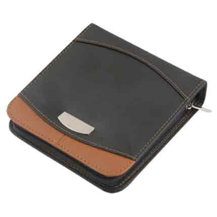 Футляр на 24 компакт-диска кожаный, черный с коричневым