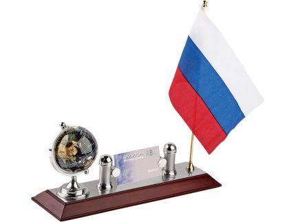 """Настольный прибор """"Куранты"""": подставка под визитки, глобус, флаг России"""