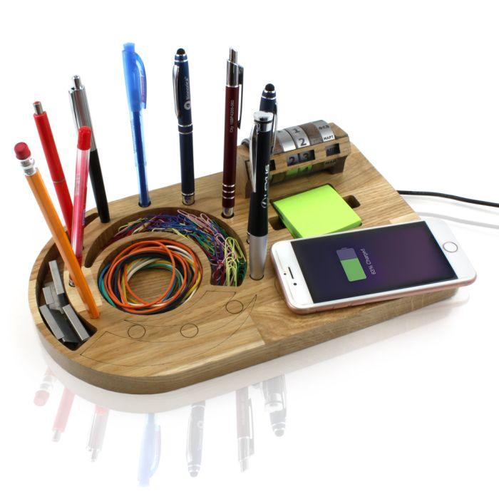 Органайзер из дерева с вечным календарем и внешним АКБ с функцией беспроводной зарядки DS130 без характеристик