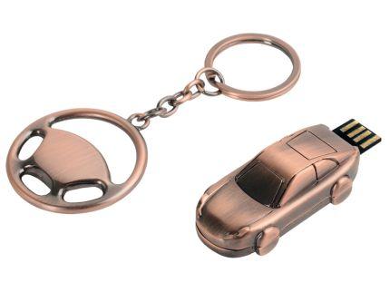 "Набор: брелок ""Руль"", флеш-карта USB 2.0 на 4 Gb в форме автомобиля"