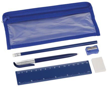 Набор канцелярский: ручка шариковая, карандаш, точилка, ластик, линейка в чехле, синий