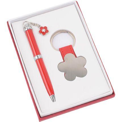 """Набор """"Цветок"""": шариковая ручка и брелок, цвет красный"""
