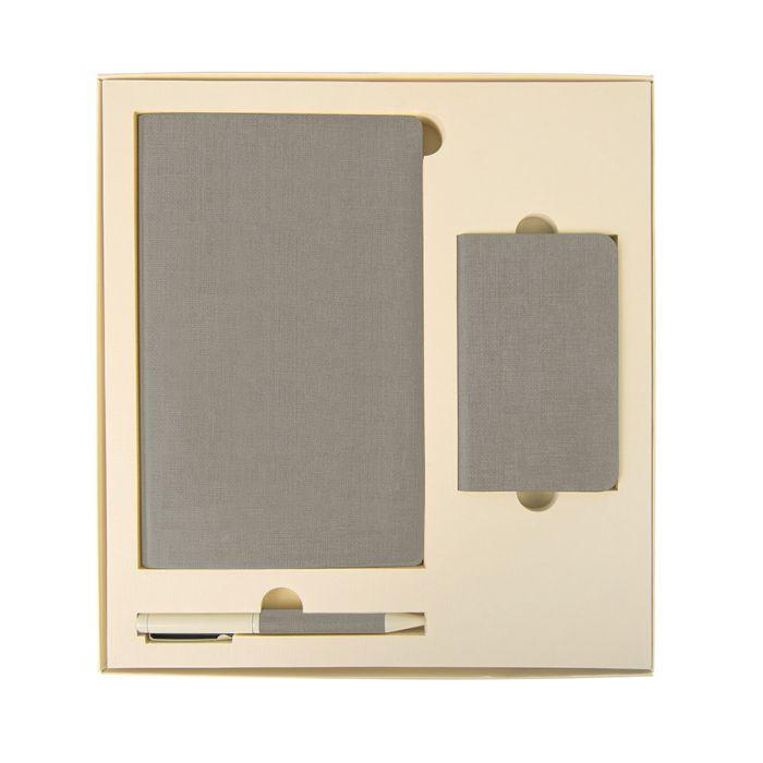 Набор подарочный PROVENCE: универсальное зарядное устройство (4000 мАh), блокнот и ручка, цвет светло-серый