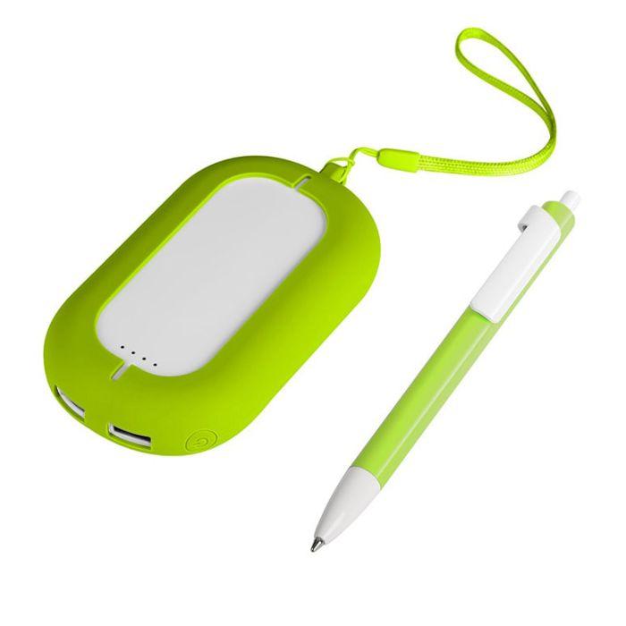 Набор SEASHELL-2: универсальное зарядное устройство(6000 mAh) и ручка в подарочной коробке, цвет белый со светло-зелёным