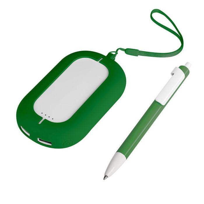 Набор SEASHELL-2: универсальное зарядное устройство (6000 mAh) и ручка в подарочной коробке, цвет белый с зелёным