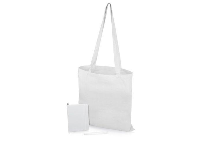 """Подарочный набор """"Session"""": блокнот, ручка и сумка, цвет белый"""