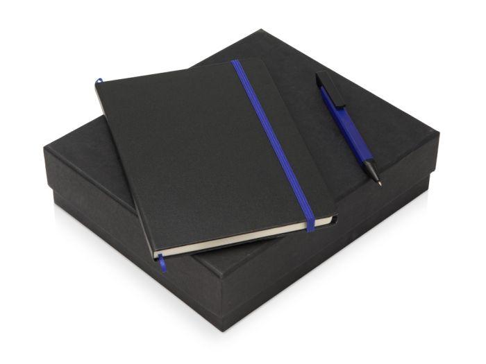 """Подарочный набор """"Jacque"""" с ручкой-подставкой и блокнотом А5, цвет чёрный с синим"""