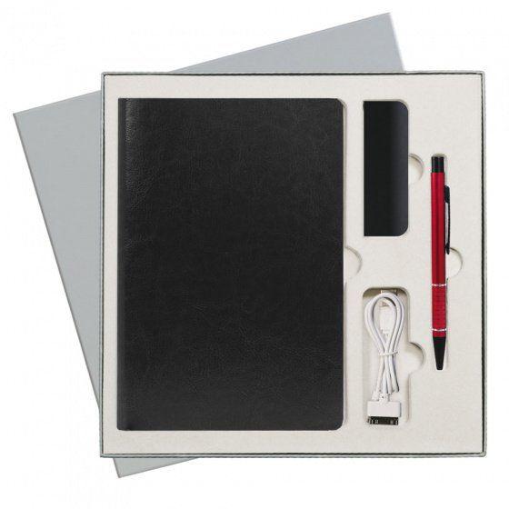 Подарочный набор Portobello River: ежедневник недатированный A5, ручка и Power Bank, чёрный