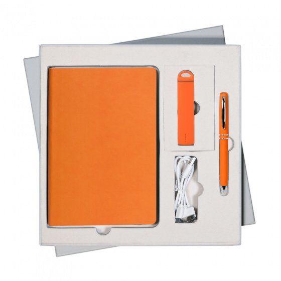 Подарочный набор Portobello Latte: ежедневник недатированный А5, ручка и power bank, оранжевый