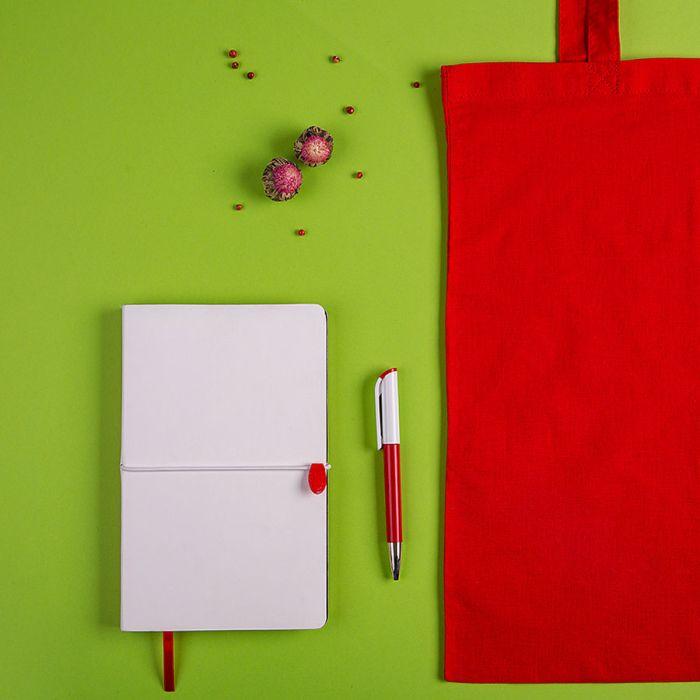 Набор подарочный WHITE&YOU: бизнес-блокнот, ручка, сумка,бело-красный