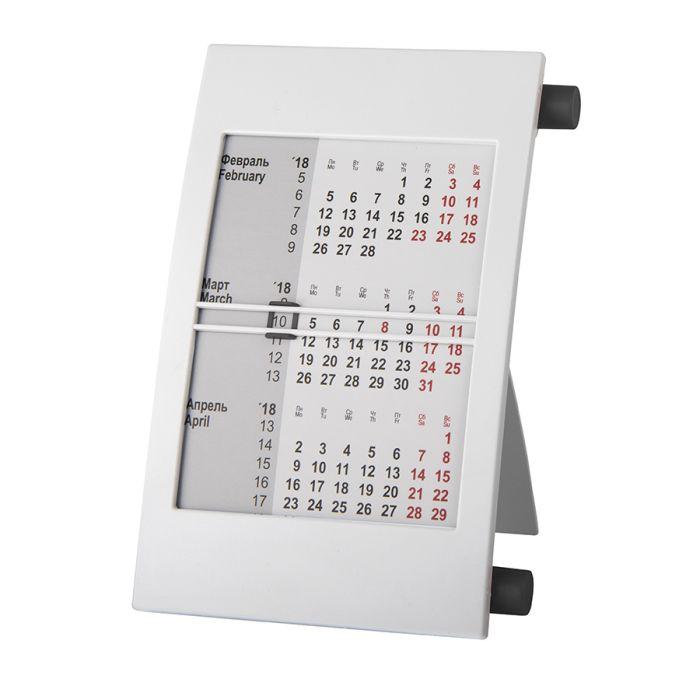 Календарь настольный на 2 года, цвет корпуса - белый, цвет роликов - чёрный