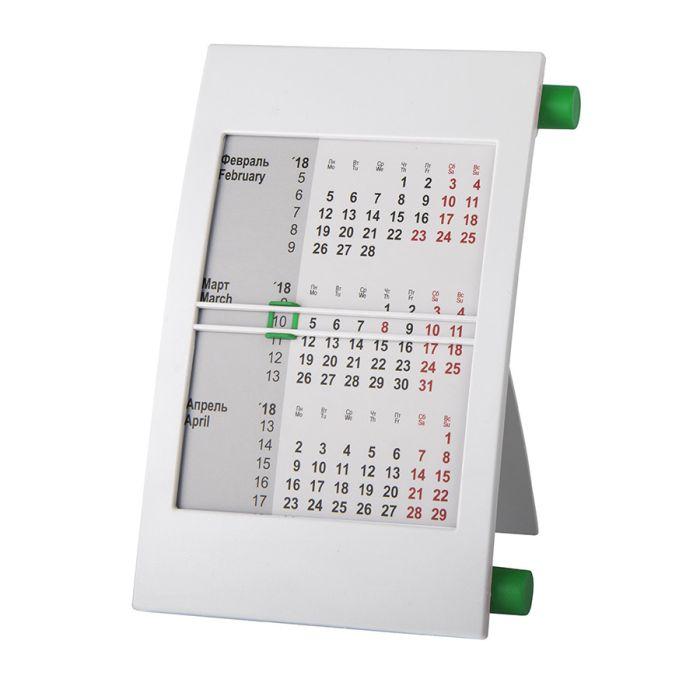 Календарь настольный на 2 года, цвет корпуса - белый, цвет роликов - зелёный