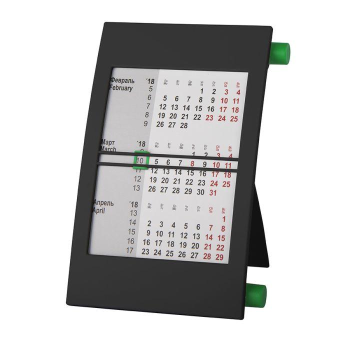 Календарь настольный на 2 года, цвет корпуса - чёрный, цвет роликов - зелёный