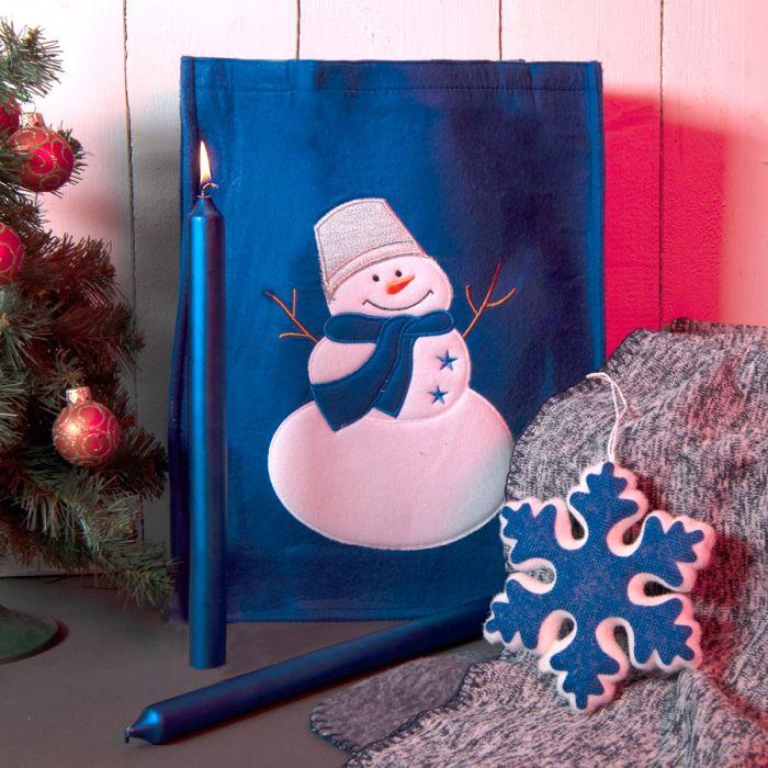 Набор подарочный NEWSPIRIT: сумка, свечи, плед, украшение, синий