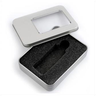 Подарочная коробка для USB-Flash накопителя, металлическая с прозрачным окошком, серая